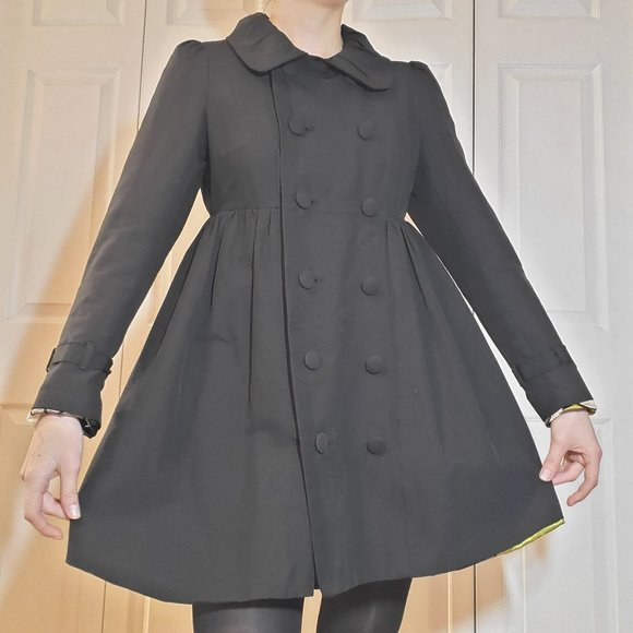 Black babydoll / empire cinched pleated pea coat dress / puffy / pleated collar